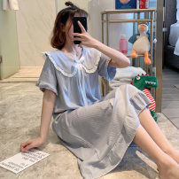 Nightdress Other / other 160 (m), 165 (L), 170 (XL), 175 (XXL), 3XL (155-180 Jin recommended), 4XL (180-200 Jin recommended), 5 yuan less if two pieces are taken, pay attention to small gifts given by stores Sweet Short sleeve pajamas longuette summer Solid color youth Small lapel cotton lace
