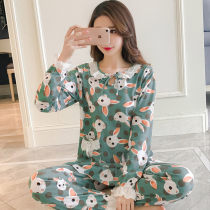 Pajamas / housewear set female Other / other Pay attention to the store and give small gifts 222 green rabbit head 226 pink rabbit head 763 pink 763 blue cotton Long sleeves Simplicity pajamas spring routine Crew neck trousers Socket youth 2 pieces rubber string Knitted cotton fabric lace