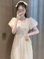 Dress Summer 2021 S,M,L,XL Mid length dress singleton  Short sleeve commute square neck High waist Solid color Three buttons A-line skirt routine Others 18-24 years old literature Lace up, button 71% (inclusive) - 80% (inclusive) Chiffon other