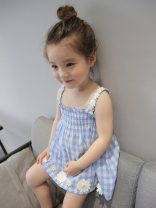 Dress Blue, white female Other / other 73cm,80cm,90cm,100cm,110cm,120cm,130cm Other 100% summer Skirt / vest 12 months, 9 months, 18 months, 2 years old, 3 years old, 4 years old, 5 years old, 6 years old