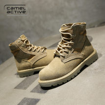 Boots 35 36 37 38 39 Mikaki Khaki Cattle suede (frosted) Camel active Low heel (1-3cm) Flat bottom Cattle suede (frosted) Middle cylinder Round head top layer leather cloth Fall 2017 Anterior frenulum street rubber Solid color Martin boots Sewing shoes cloth winter waterproof Frosting