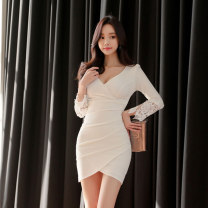 Dress Spring 2021 white S,M,L,XL Short skirt singleton  Long sleeves commute V-neck High waist Solid color zipper One pace skirt routine Others 25-29 years old Type H Korean version Stitching, asymmetry, zipper, lace