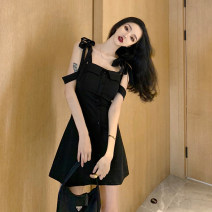 Dress Summer 2020 black S,M,L Short skirt singleton  Sleeveless High waist zipper A-line skirt camisole 18-24 years old Other / other Bow tie