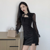 Dress Autumn 2020 black S,M,L,XL Short skirt singleton  Long sleeves commute stand collar High waist Solid color Socket One pace skirt pagoda sleeve Others 25-29 years old Retro Hollow out, gauze other