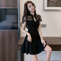 Dress Summer of 2019 black S,M,L,XL,2XL Short skirt singleton  Short sleeve stand collar High waist Solid color A button Lotus leaf sleeve 18-24 years old Type A Backless, Gouhua, hollowed out, stitching, buttons, lace Lace