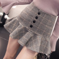skirt Winter 2020 S,M,L,XL Grey, yellow, black Short skirt commute High waist Pleated skirt lattice Type A 81% (inclusive) - 90% (inclusive) Wool Other / other Ruffles, buttons, zippers