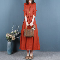 Dress Spring 2021 Purple, orange, green, blue, army yellow, brown Average size longuette singleton  Long sleeves commute stand collar Loose waist Solid color Socket Big swing routine Others Type H Retro Button, button More than 95% hemp