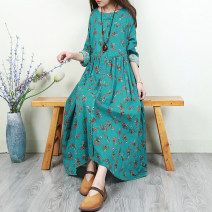 Dress Spring 2020 Blue and green bottom broken flowers, yellow bottom broken flowers, deep meat powder foundation broken flowers, coffee bottom broken flowers, gray bottom broken flowers Single code longuette singleton  Long sleeves Sweet Crew neck Loose waist Socket Big swing routine Others Type H