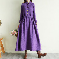 Dress Winter of 2019 Purple, Burgundy, navy L,XL,2XL longuette singleton  Long sleeves Sweet stand collar Loose waist Solid color Single breasted Big swing routine Others Type X Pocket, lace up, button 51% (inclusive) - 70% (inclusive) hemp Mori