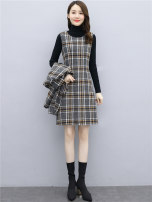 Women's large Winter 2020, autumn 2020 Red check sleeve less dress + coat, grey check sleeve less dress + coat, black check sleeve less dress + coat, white check sleeve less dress + coat, white check sleeve less dress + coat, blue check sleeve less dress + coat, picture color skirt + coat Dress