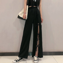 Casual pants S M L XL XXL XXXL XXXXL Summer 2020 trousers Wide leg pants low-waisted commute Thin money Cesekntt Korean version Bandage Other 100%