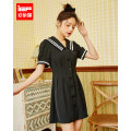 Dress Spring 2021 black S,M,L Middle-skirt singleton  Short sleeve Doll Collar High waist Solid color 18-24 years old Type A IEF / aiyifu 1S23K-D8159- More than 95% other