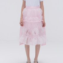 skirt Spring 2021 XS,S,M,L White, black, pink Middle-skirt commute Natural waist Cake skirt Solid color More than 95% other ESTER HSU cotton Lace stitching Korean version
