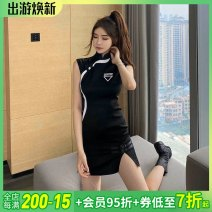 Dress Summer 2020 black XS,S,M,L,XL Middle-skirt singleton  Sleeveless commute other Solid color other other Others ethnic style 81% (inclusive) - 90% (inclusive) other