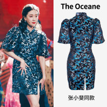 cheongsam Spring 2021 S,M,L blue Short sleeve Single cheongsam ethnic style Low slit woman's dress buttoned down from right armpit Animal design Embroidery TO-DS286BU Other / other polyester fiber 96% and above