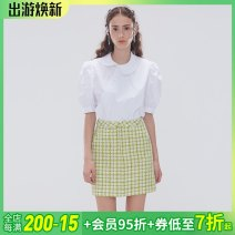 Fashion suit Spring 2021 XS,S,M,L White cheongsam collar, bubble sleeve shirt, green plaid tweed skirt ESTER HSU 96% and above cotton