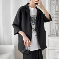 man 's suit Black, gray Youth fashion routine XL,L,M,XXL H8 easy A double breasted button Other leisure No slits teenagers three quarter sleeve spring routine Straight hem lattice Wide neck (9-11cm) Mingji thread patch bag No iron treatment other Arrest line