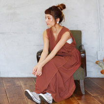 Dress Autumn of 2019 Brown F-code Mid length dress singleton  Sleeveless Sweet V-neck High waist Solid color other A-line skirt other Others 18-24 years old Type A CRISP Frenulum c050184-c2R2546 More than 95% cotton Cotton 100% solar system