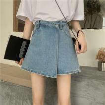 Jeans Summer 2020 Light blue 9599 S [90-100 kg], m [100-110 kg], l [110-120 kg], XL [120-135 kg], 2XL [135-150 Jin], 3XL [150-165 kg], 4XL [165-175 Jin], 5XL [175-200 Jin] shorts High waist Wide legged trousers routine 18-24 years old Worn, button Cotton denim light colour JSWETR