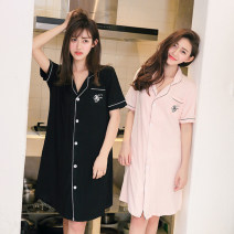 Nightdress Other / other Simplicity Short sleeve Leisure home Middle-skirt summer letter youth Small lapel cotton printing More than 95% Knitted cotton fabric 200g and below