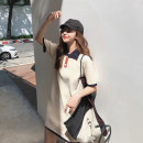 Dress 31% (inclusive) - 50% (inclusive) cotton Summer of 2019 Medium length skirt knitting singleton  Short sleeve commute Polo collar Loose waist other Condom One pace skirt other Other Type H Korean version Button S,M,L