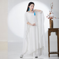 Dress Summer of 2019 white S,M,L,XL longuette Two piece set elbow sleeve commute Crew neck Loose waist Solid color Socket Big swing routine 25-29 years old Type O literature Chiffon