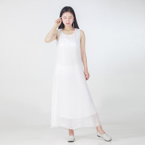 Dress Summer of 2019 white S,M,L,XL Mid length dress singleton  Sleeveless commute Crew neck middle-waisted Solid color Socket 25-29 years old Type A literature Chiffon
