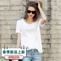 T-shirt White, black S,M,L,XL,2XL Spring 2021 Short sleeve Crew neck easy Medium length routine commute cotton 96% and above 18-24 years old Solid color Old, irregular