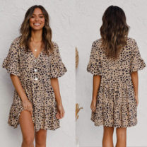Dress Summer 2021 Picture color S,M,L,XL Middle-skirt singleton  three quarter sleeve street V-neck Loose waist Leopard Print Socket Ruffle Skirt Lotus leaf sleeve 25-29 years old Type A 9119# 71% (inclusive) - 80% (inclusive) Chiffon hemp Europe and America