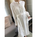Women's large Spring 2021, summer 2021 Milky white (delivery belt) Large L, large XL, s, m, 2XL, 3XL, 4XL Dress singleton  commute easy Long sleeves Solid color stand collar other longuette