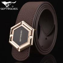 Belt / belt / chain Double skin leather Blue, brown male belt Single loop Pin buckle 3.7cm alloy Septwolves