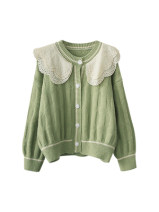 Wool knitwear Autumn 2020 Average size Apricot, light green, pink Long sleeves singleton  Cardigan cotton 71% (inclusive) - 80% (inclusive) Regular routine Sweet easy Doll Collar routine Solid color Single breasted 18-24 years old Mori