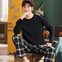 Pajamas / housewear set male Other / other Small m (75-95 Jin), small l (95-110 Jin), small XL (110-125 Jin), large L (120-135 Jin), large XL (135-155 Jin), large XXL (155-175 Jin), large 3XL (175-195 Jin), large 4XL (195-220 Jin), large 5XL (220-260 Jin) cotton Long sleeves motion Leisure home youth