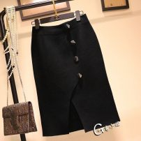 skirt Autumn 2020 S, M black Middle-skirt commute High waist Irregular Solid color Type H 31% (inclusive) - 50% (inclusive) knitting cotton 201g / m ^ 2 (including) - 250G / m ^ 2 (including)