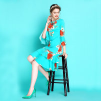 Dress Spring 2021 Black with white dots, green with red flowers, thousand birds, black with blue and green with big flowers 2,4,6,8,10,12 Mid length dress singleton  Long sleeves commute Crew neck middle-waisted Decor Socket Ruffle Skirt pagoda sleeve Others 35-39 years old Type H Other / other Retro