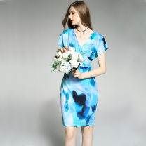 Dress Spring 2021 Blue green rendering - short sleeve 4,6,8,10,12 Middle-skirt singleton  Short sleeve commute V-neck middle-waisted Decor Socket One pace skirt Bat sleeve Others 30-34 years old Type H Other / other Britain printing 71% (inclusive) - 80% (inclusive) other other