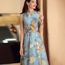 Dress Summer 2020 Sky blue printing and dyeing, reservation - sky blue printing and dyeing S. M, l, XL, 2XL, 3XL, collect and buy more than two gifts, belt is not a gift, contact customer service for 15 yuan] Middle-skirt singleton  Sleeveless commute Crew neck middle-waisted Decor zipper Big swing
