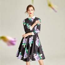 Dress Spring 2020 Dark blue with white flowers S. M, l, XL, 2XL, 3XL, home page join members, get member coupons Middle-skirt singleton  Nine point sleeve commute Polo collar middle-waisted Decor zipper Big swing routine Others 35-39 years old Type A Other / other lady printing other other