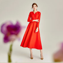 Dress Winter 2020 Crimson, orange, grey S. M, l, XL, 2XL, 3XL, home page join members, get member coupons longuette singleton  Long sleeves commute V-neck middle-waisted Solid color zipper Big swing routine Others 35-39 years old Type X Other / other literature Resin fixation Wool wool