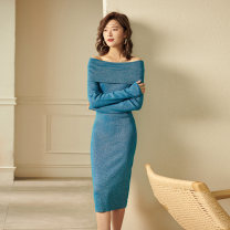 Dress Spring 2021 S,M,L,XL,2XL Middle-skirt singleton  Long sleeves commute One word collar middle-waisted Solid color Socket Pencil skirt Wrap sleeves Others 35-39 years old T-type Other / other Simplicity 3D 51% (inclusive) - 70% (inclusive) knitting other