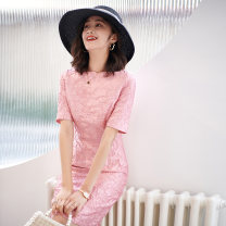 Dress Spring 2021 Pink jacquard S. M, l, XL, 2XL, 3XL, belt can add 15 yuan~ Middle-skirt singleton  elbow sleeve commute One word collar middle-waisted Abstract pattern zipper One pace skirt routine Others 40-49 years old Type H Other / other Simplicity 3D 1634 peach blossom misty rain other other