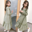 Dress female Other / other 110cm,120cm,130cm,140cm,150cm,160cm,165cm Other 100% spring and autumn Korean version Long sleeves lattice cotton A-line skirt Class B Chinese Mainland