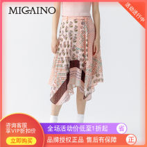 skirt Spring of 2019 XS,S,M,L,XL Pink flower Mid length dress Natural waist Umbrella skirt Type A 25-29 years old MJ12EB055 other Migaino / manyanu
