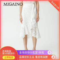 skirt Summer of 2019 XS,S,M,L,XL Black, beige Mid length dress Natural waist A-line skirt other Type A 25-29 years old MJ22EB077 More than 95% other Migaino / manyanu polyester fiber zipper