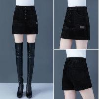 Casual pants black S,M,L,XL,2XL,3XL,4XL Winter 2020 shorts Wide leg pants High waist commute routine S2093-0829 Other / other Wire cloth Korean version pocket