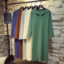 Dress Autumn 2020 Green, apricot, khaki, grey, black, caramel, denim blue, turquoise blue Average size longuette singleton  Long sleeves commute other Loose waist Solid color Socket other routine Others 18-24 years old Type H Korean version 51% (inclusive) - 70% (inclusive) knitting other