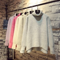 sweater Winter 2020 Average size Gray, black, flower khaki, light apricot, peach powder, purple flower, navy blue Long sleeves Socket singleton  Medium length other 31% (inclusive) - 50% (inclusive) High collar thickening commute bishop sleeve Solid color Straight cylinder Regular wool