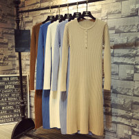 Dress Autumn 2020 White, black, dark apricot, light rice apricot, blue gray, denim blue, brown coffee, Dark Khaki Average size longuette singleton  Long sleeves commute Crew neck High waist Solid color Socket other routine Others 18-24 years old Type H Korean version 51% (inclusive) - 70% (inclusive)