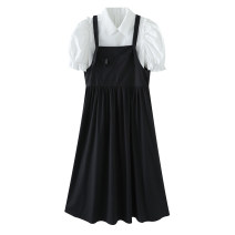 Dress Summer 2021 black S,M,L,XL Two piece set Short sleeve commute square neck middle-waisted Solid color Socket Pleated skirt puff sleeve Type A Peacebird Korean version A3FAB2138 cotton