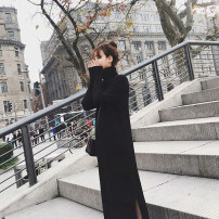 Dress Winter of 2018 Black, white S,M,L,XL longuette singleton  Long sleeves commute High collar High waist Solid color Socket other routine Others 18-24 years old Type H Other / other Korean version thread More than 95% knitting other